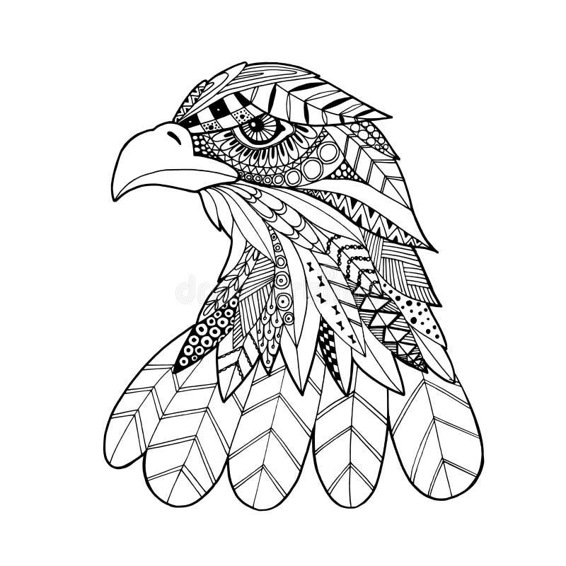 Dekorativer Kopf des Adlervogels, modische ethnische zentangle Artillustration, Hand gezeichnet lizenzfreie abbildung