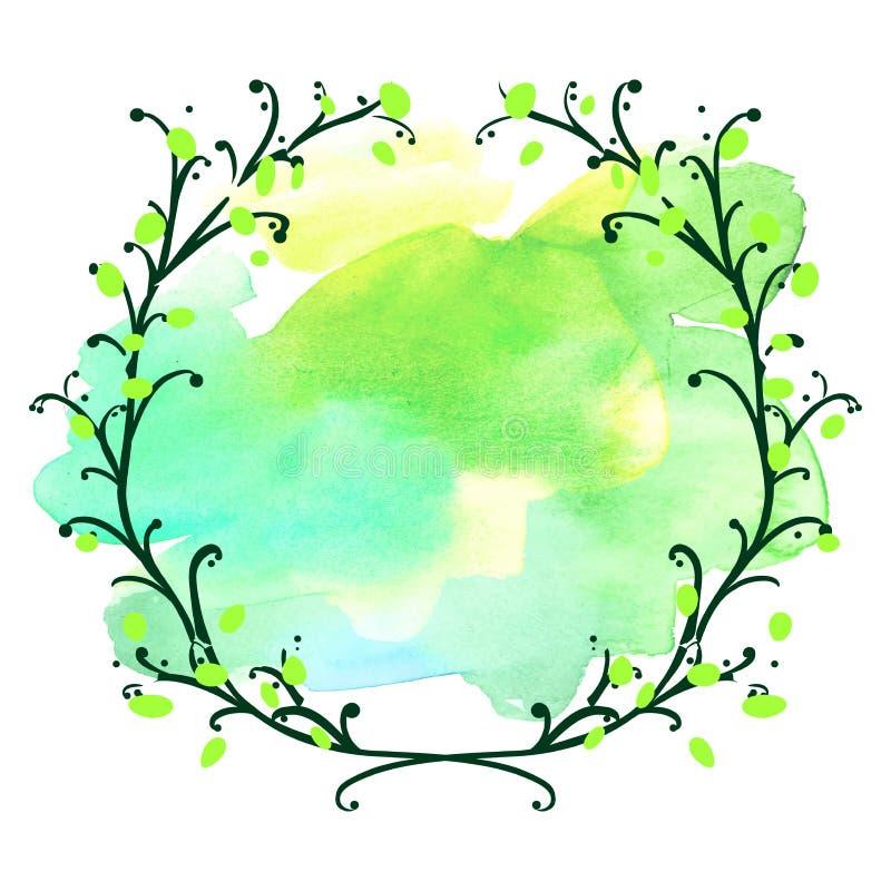 Dekorativer Kranz der Blumen, runde Rahmenhandgezogener Gekritzelvektor lizenzfreie abbildung