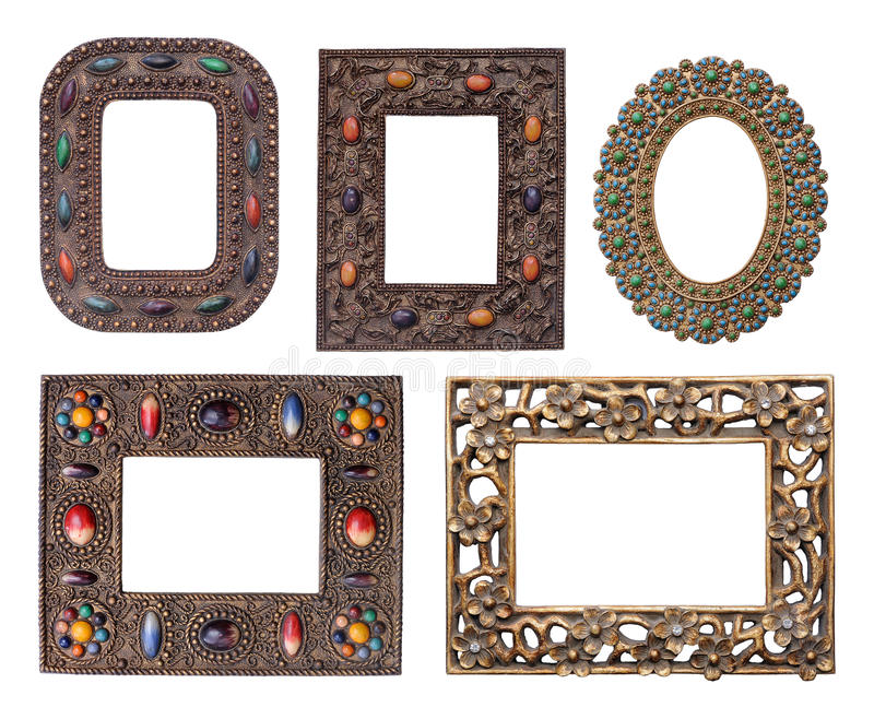 Dekorativer Metallbilderrahmensatz lizenzfreie stockfotos