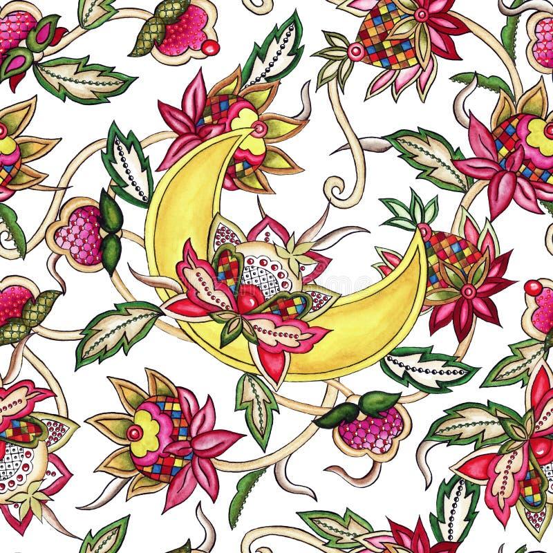 Dekorativer Mond des nahtlosen Musters mit dekorativem stilisiertem Blumen- und Blattaquarell vektor abbildung