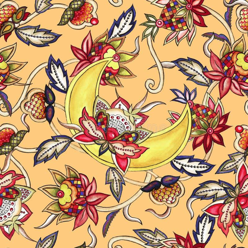 Dekorativer Mond des nahtlosen Musters mit dekorativem stilisiertem Blumen- und Blattaquarell lizenzfreie abbildung
