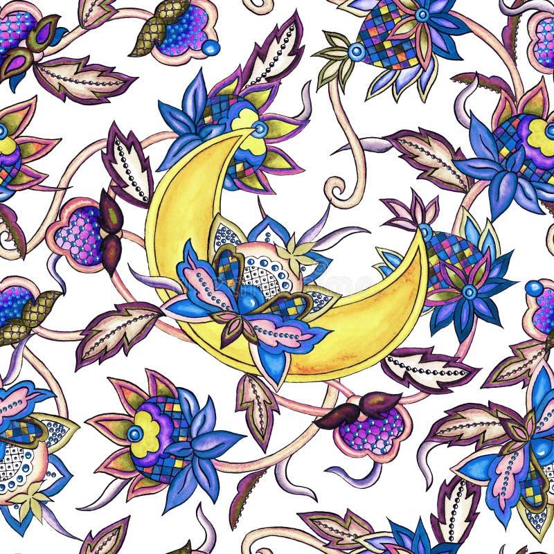 Dekorativer Mond des nahtlosen Musters mit dekorativem stilisiertem Blumen- und Blattaquarell stock abbildung
