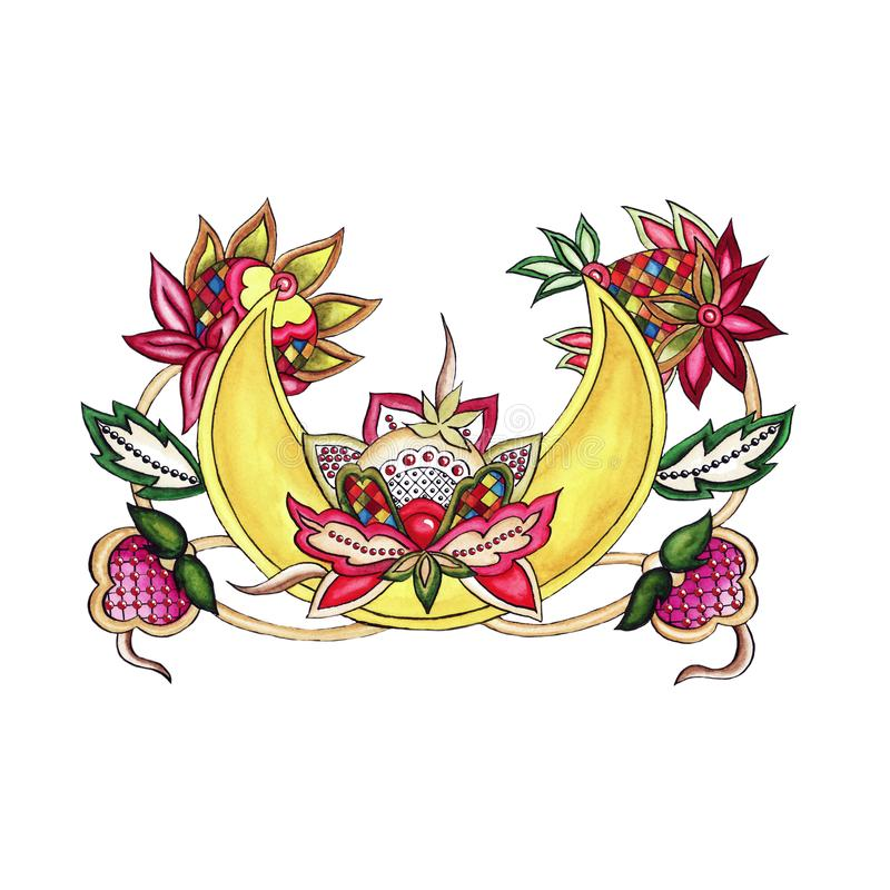 Dekorativer Mond mit dekorativem stilisiertem Blumen- und Blattaquarell vektor abbildung