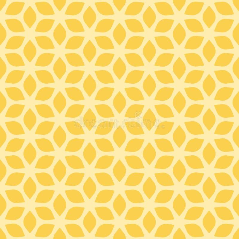 Dekorativer nahtloser geometrischer gelber Muster-mit Blumenhintergrund lizenzfreie abbildung