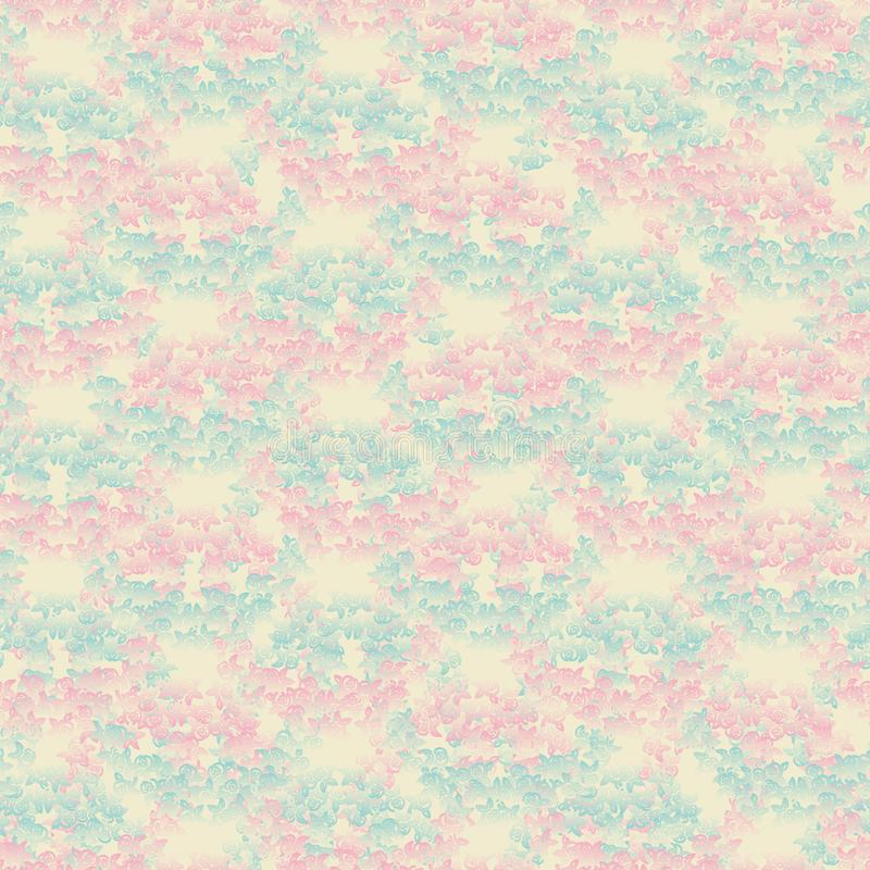 Dekorativer nahtloser Vektormusterhintergrund mit Rosa und blauen Steigungsrosen vektor abbildung