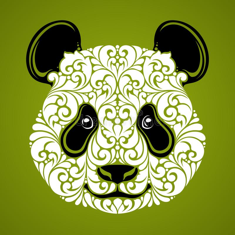 Dekorativer dekorativer Panda Nettes Gesicht des Pandabären lokalisierte Ikonenlogo auf grüner Hintergrund Vektorillustration vektor abbildung