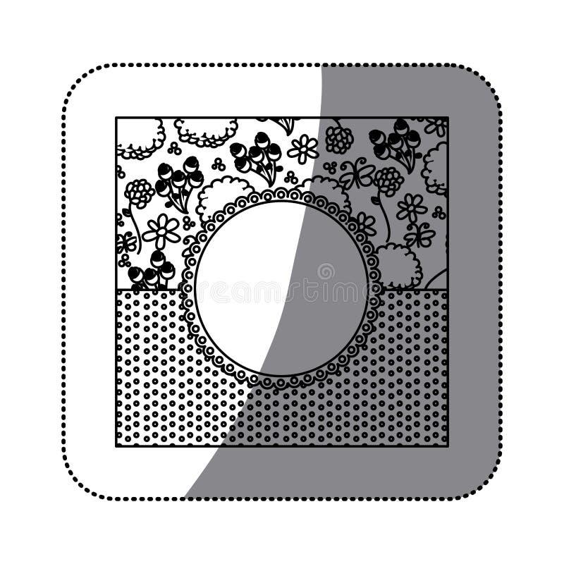 dekorativer Rahmen des Aufkleberschattenbildes mit Musterrosen und punktiertem Design vektor abbildung
