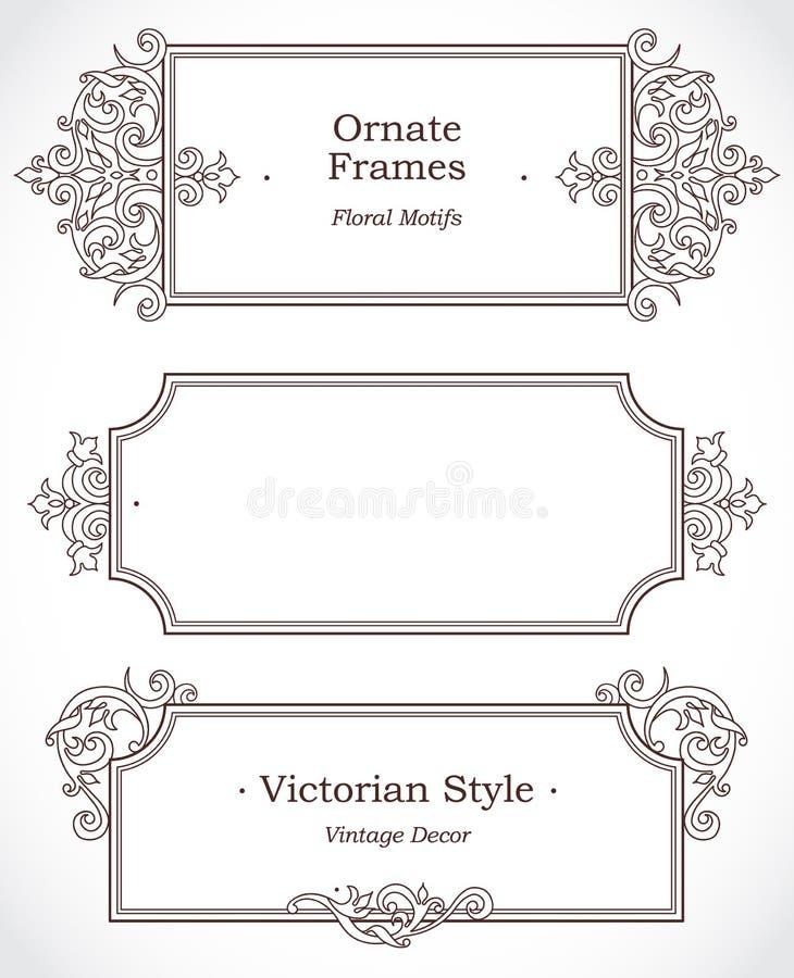 Dekorativer Rahmen Des Vektors Im Viktorianischen Stil Vektor ...