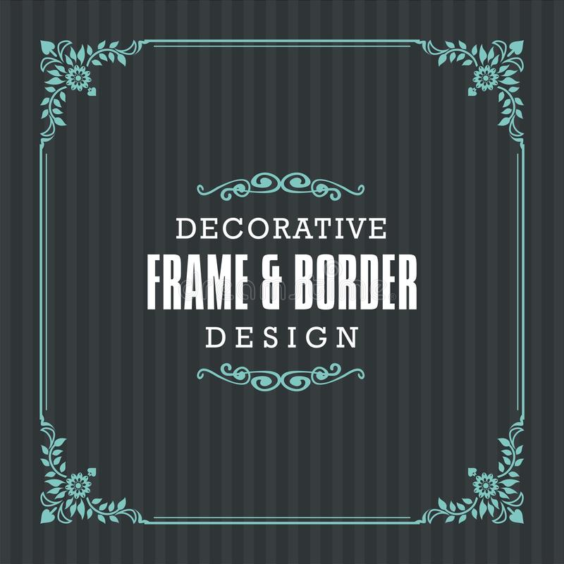 Dekorativer Rahmen, Grenze mit dekorativer Linie Art stock abbildung