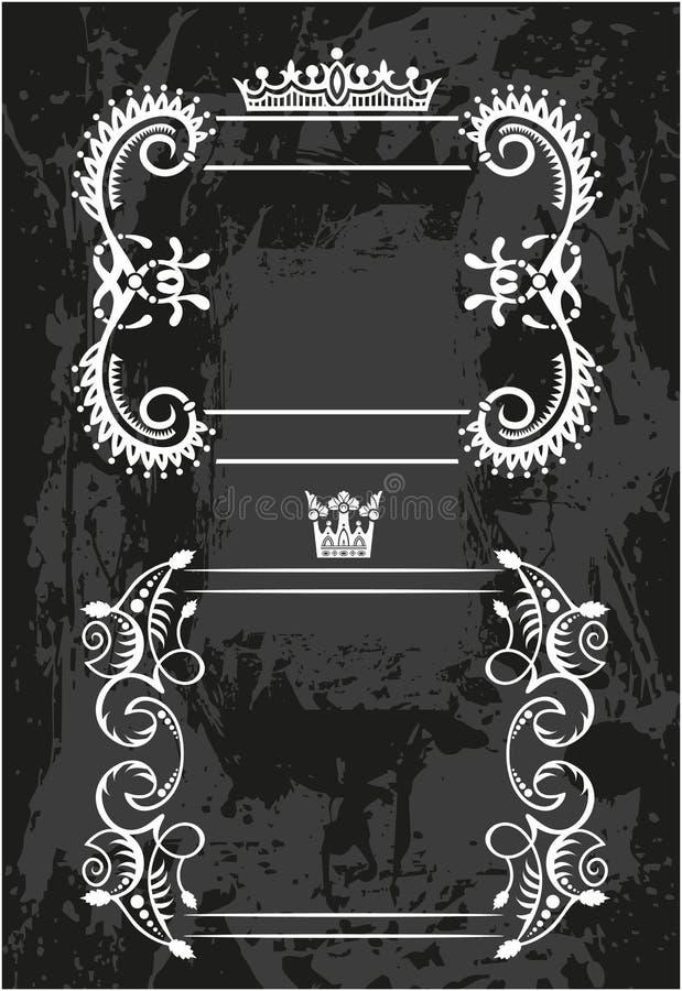 Dekorativer Rahmen mit Krone lizenzfreie abbildung
