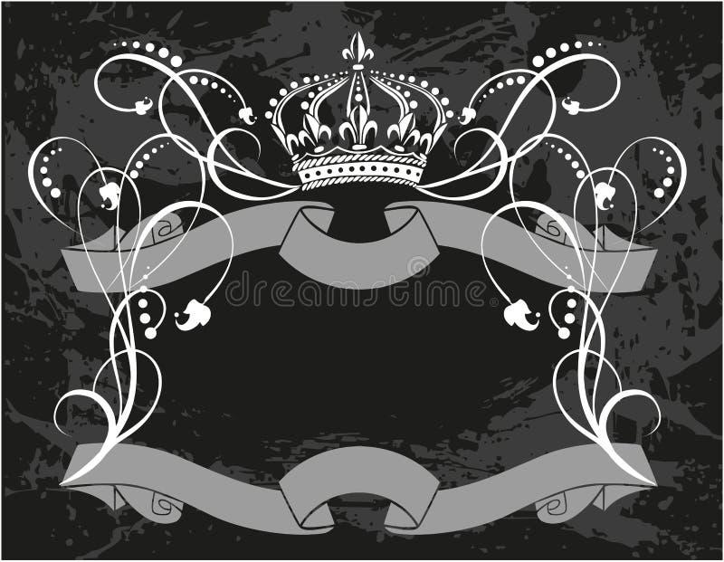 Dekorativer Rahmen mit Krone vektor abbildung