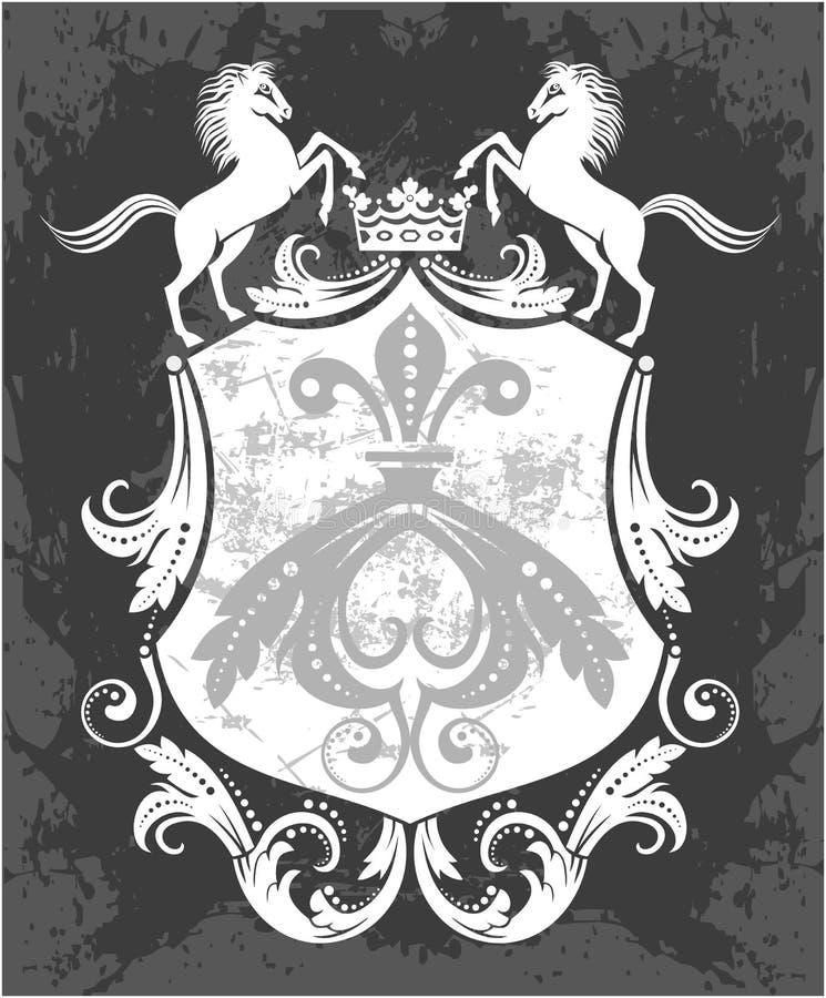 Dekorativer Rahmen mit Krone und Pferden lizenzfreie abbildung