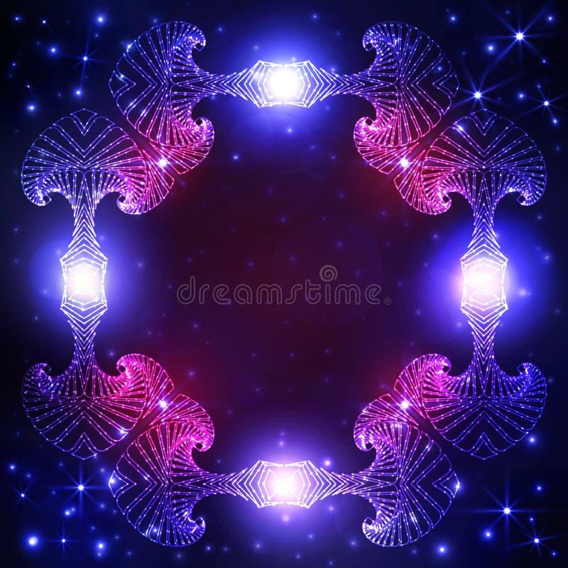 Dekorativer Rahmen Stardust auf dunkelblauem und violettem Steigungshintergrund mit Twinklingssternen und -lichtern stock abbildung