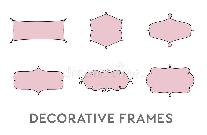 Dekorativer Rahmen-Vektor-Satz stock abbildung