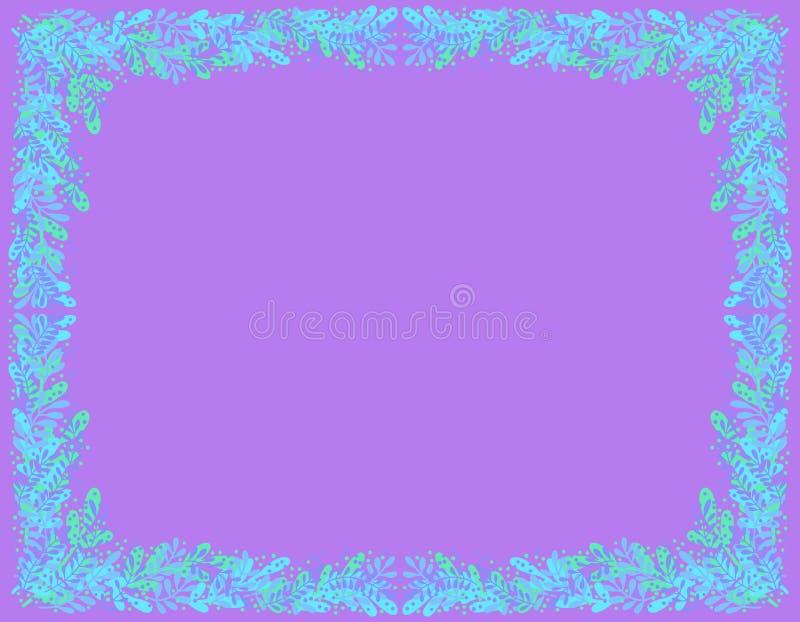 Dekorativer Rahmen von blauen und grünen Blättern auf einem dunklen purpurroten Hintergrund lizenzfreie abbildung