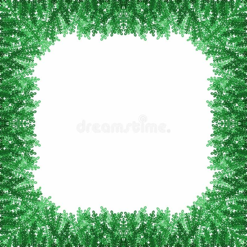 Dekorativer Rahmen von dunklen und hellgrünen Niederlassungen auf einem weißen Hintergrund lizenzfreie abbildung