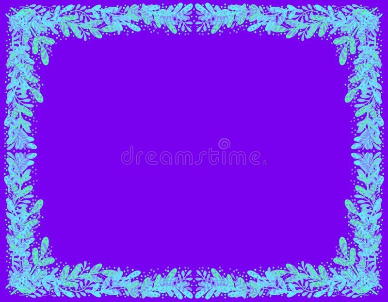 Dekorativer Rahmen von hellblauen Blättern auf einem dunklen purpurroten Hintergrund lizenzfreie abbildung