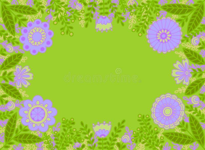 Dekorativer Rahmen von lila Blumen auf einem hellgrünen Hintergrund stock abbildung