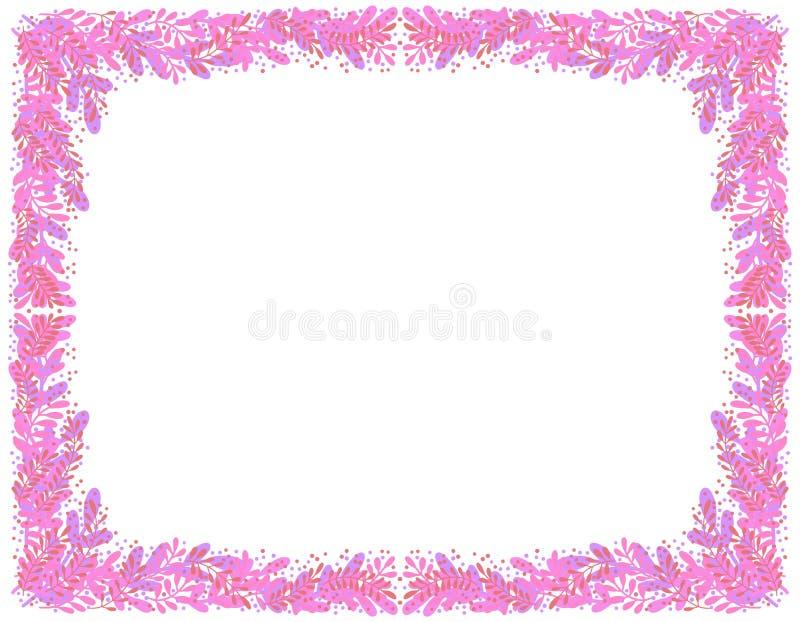 Dekorativer Rahmen von rosa Niederlassungen und von Blättern vektor abbildung