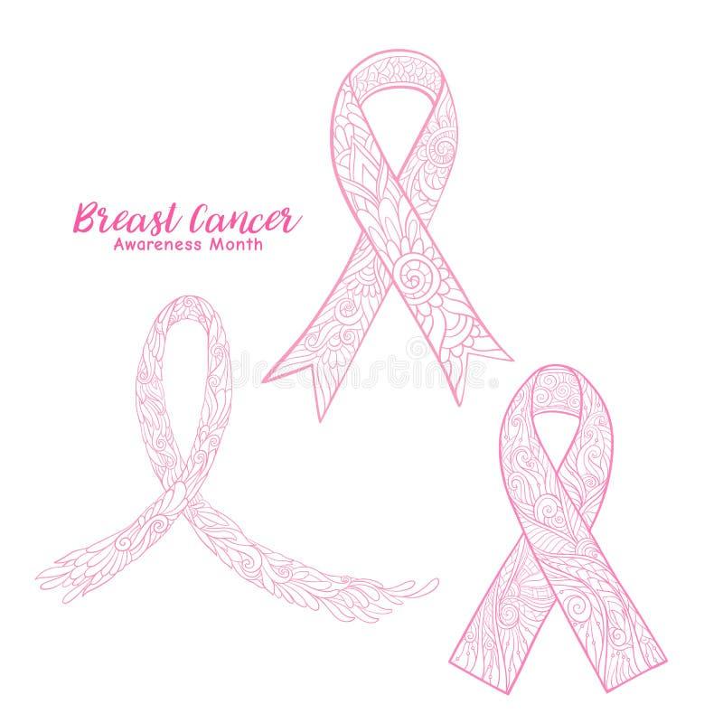 Dekorativer rosa Bandsatz des Brustkrebs-Bewusstseinsmonats ablage vektor abbildung