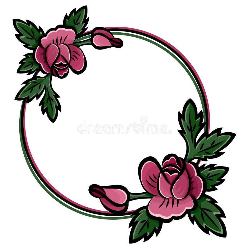 Dekorativer runder Blumenrahmen mit rosa Rosen, den Knospen und schwarzem Anschlag der gr?nen Bl?tter Auch im corel abgehobenen B vektor abbildung