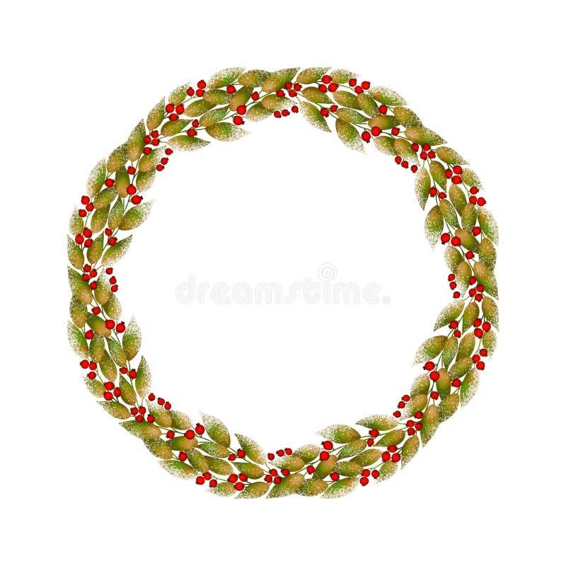 Dekorativer runder Kranz des Herbstlaubs und der roten Beeren auf weißem Hintergrund vektor abbildung
