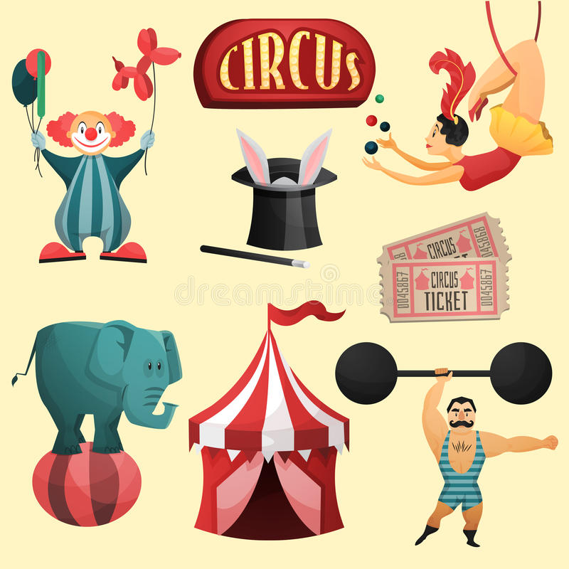 Dekorativer Satz des Zirkusses stock abbildung