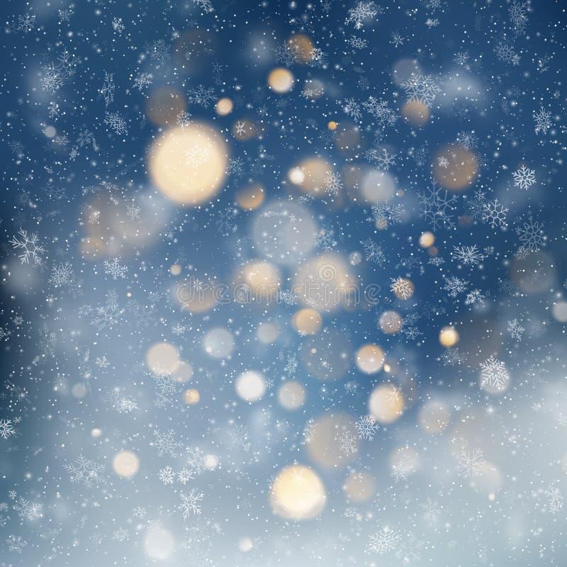 Dekorativer Schablone Weihnachtshintergrund mit Schnee- und bokehlichtern Magischer Feiertagszusammenfassungs-Funkelnhintergrund  stock abbildung