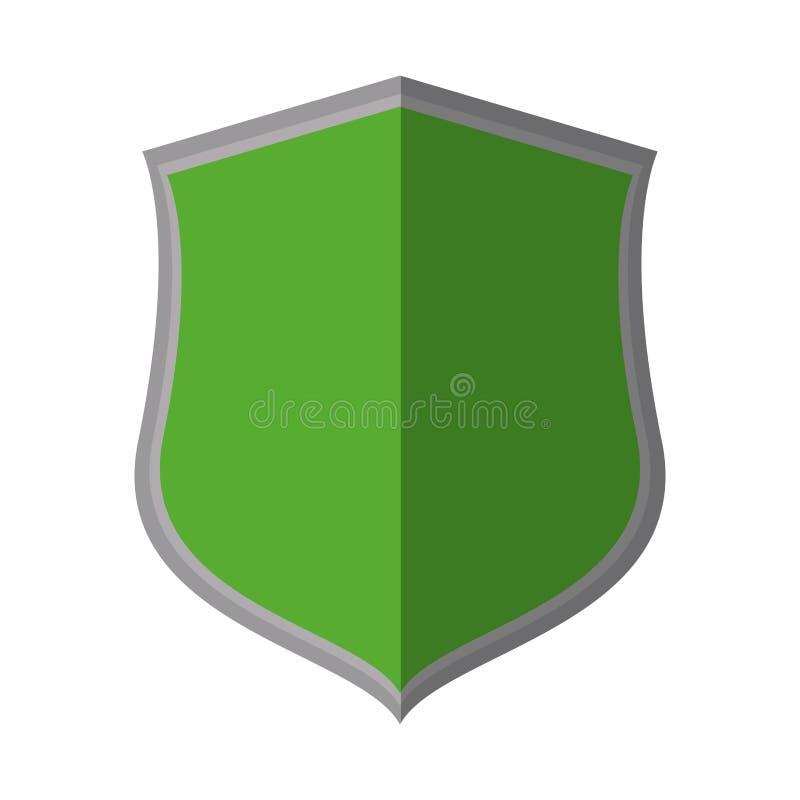 dekorativer Schatten der grünen Schildschutz-Insignien lizenzfreie abbildung
