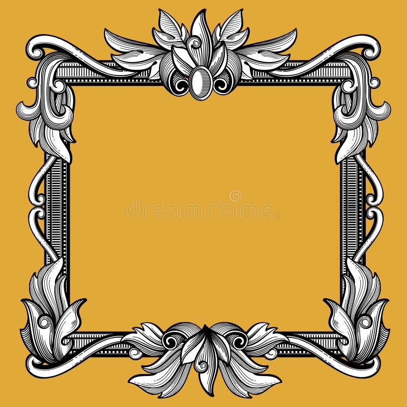 Dekorativer Victorian, barocke Kunst der Weinlese gravierte Vektorrahmen stock abbildung