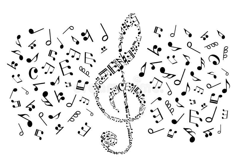 Dekorativer Violinschlüssel mit musikalischen Anmerkungen, Symbole stock abbildung