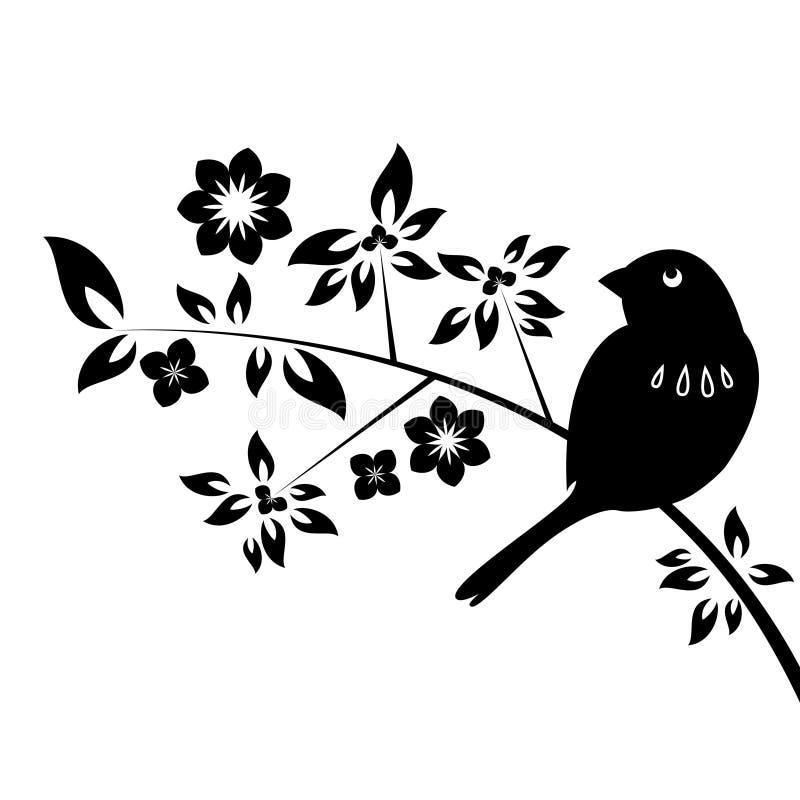 Dekorativer Vogel mit Blättern stock abbildung