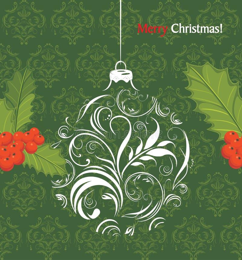 Dekorativer Weihnachtsball mit Stechpalmenbeerenbündel vektor abbildung