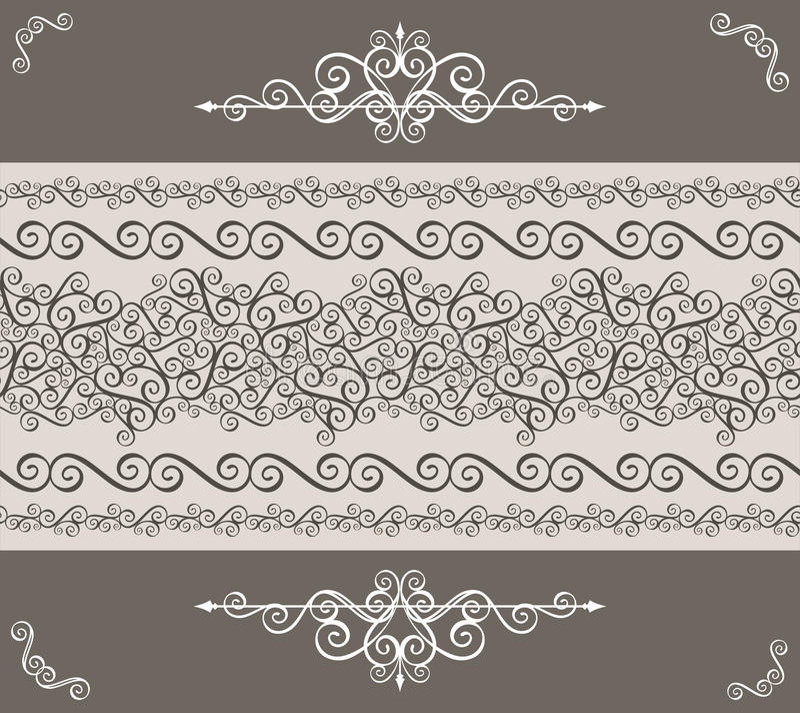 Dekorativer Weinleserand stock abbildung
