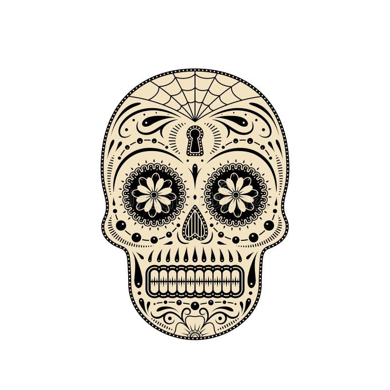 Dekorativer Zuckerschädel Tag der Toten vektor abbildung