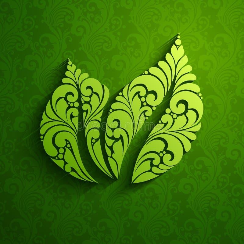 Dekoratives aufwändiges grünes Blattikonenlogo auf Musterhintergrund Auch im corel abgehobenen Betrag Natürliches Design Eco vektor abbildung