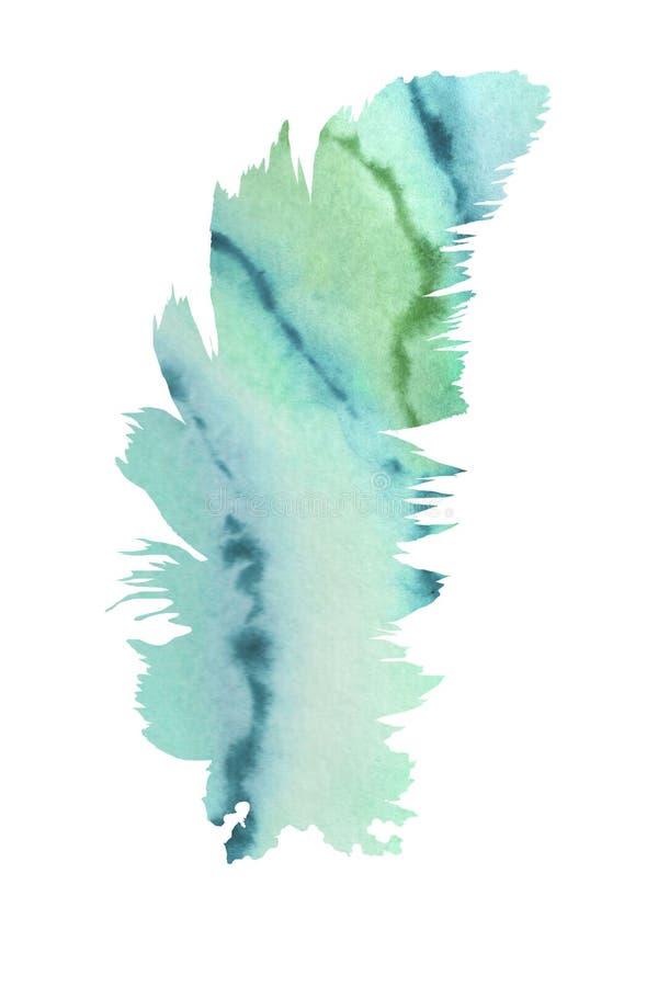 Dekoratives Bild einer Flugwesenschwalbe ein Blatt Papier in seinem Schnabel Eine weiche Feder f?llte Aquarellhintergrund stock abbildung