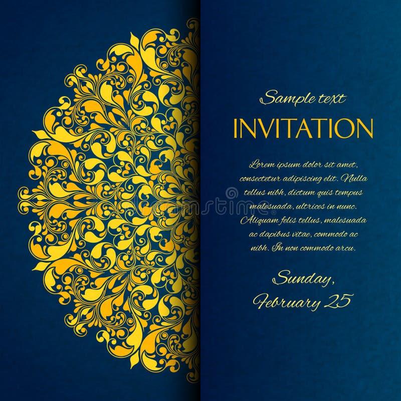 Dekoratives Blau mit Goldstickereieinladung stock abbildung