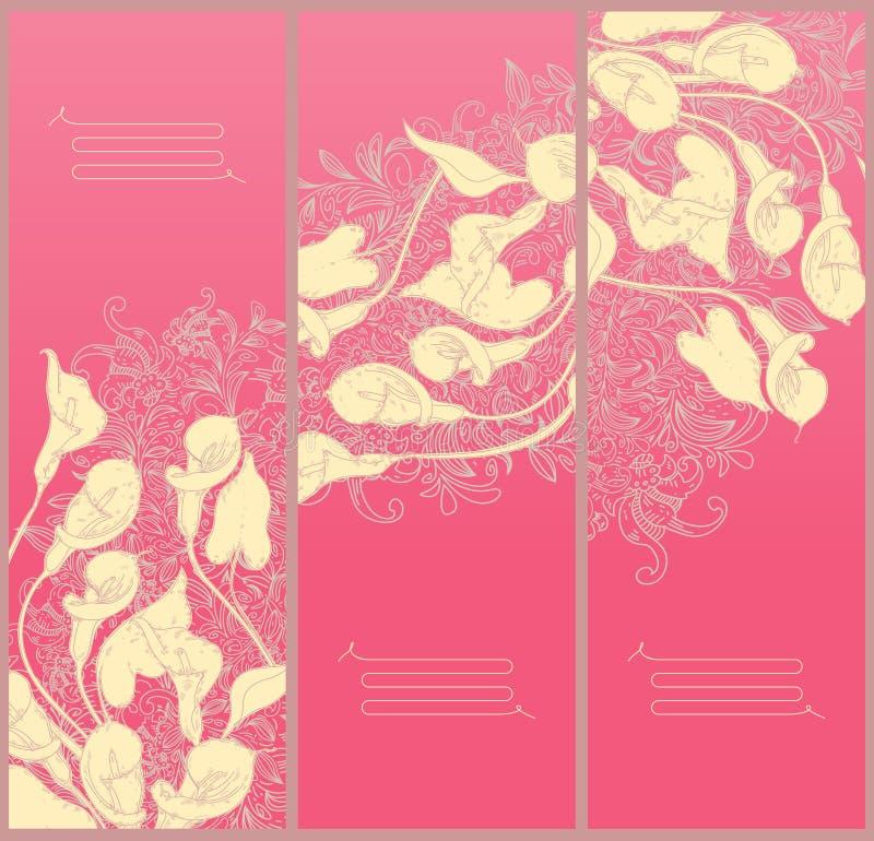 Dekoratives Blumenfahne Strichzeichnung Calla lizenzfreie abbildung