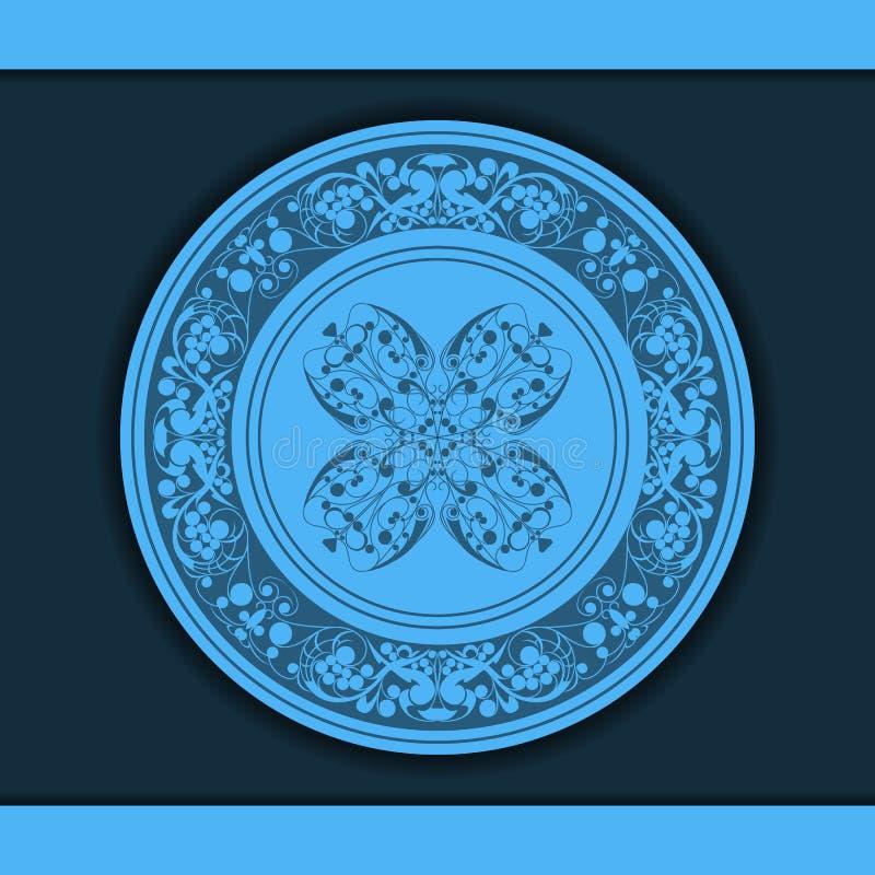 Dekoratives Blumenmuster auf einer blauen Platte vektor abbildung