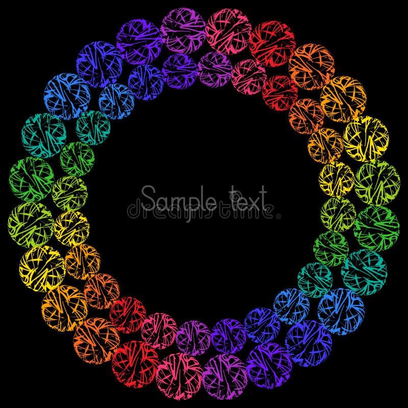 Dekoratives buntes Element-Kreisrahmen für Text auf schwarzem BAC stock abbildung