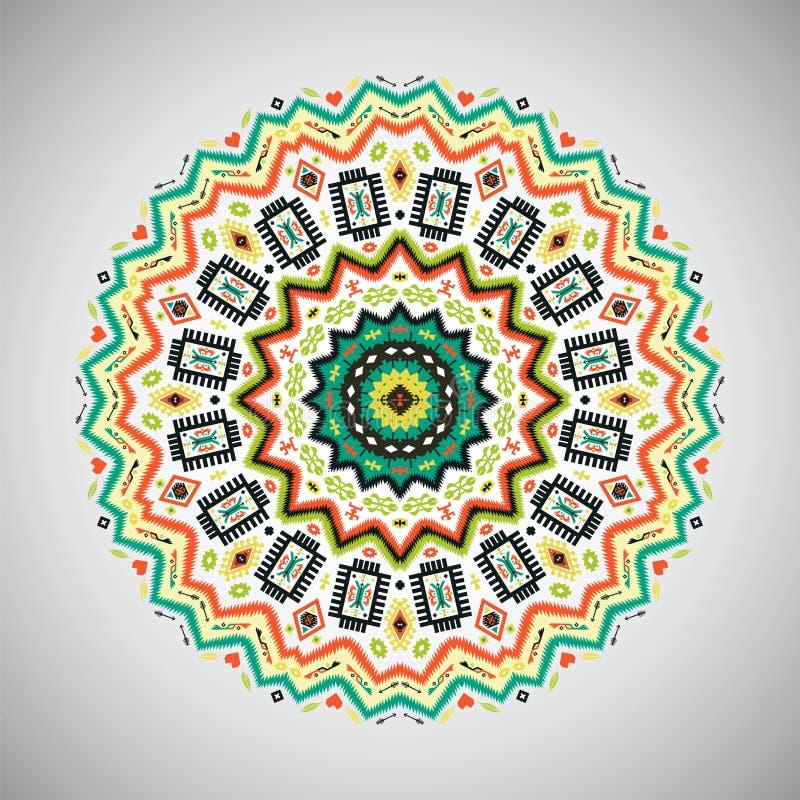 Dekoratives buntes rundes geometrisches Muster herein stock abbildung