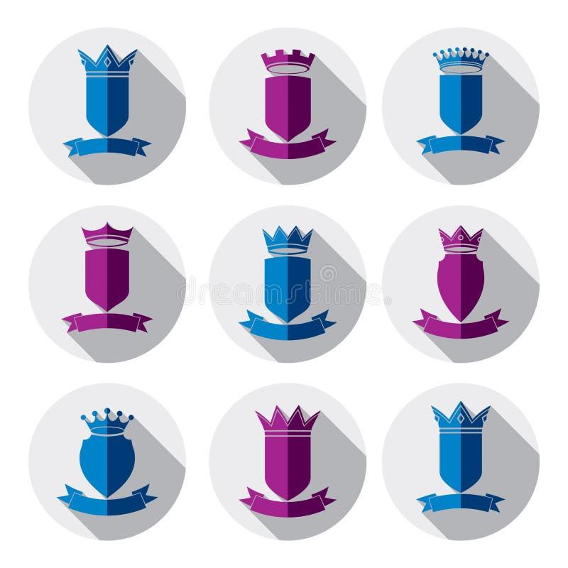 Dekoratives buntes Wappen, Schutzthemasymbole hera stock abbildung