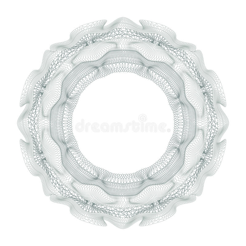 Dekoratives Element des Guilloche für Designzertifikat, -diplom und -banknote vektor abbildung