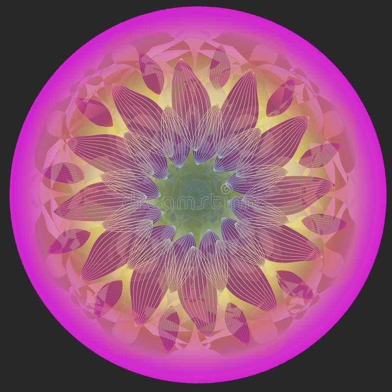Dekoratives Element f?r Design Einfacher schwarzer Hintergrund ZENTRALE BLUME IM ROSA, PINKFARBEN, VIOLETT UND GRÜN lizenzfreie abbildung