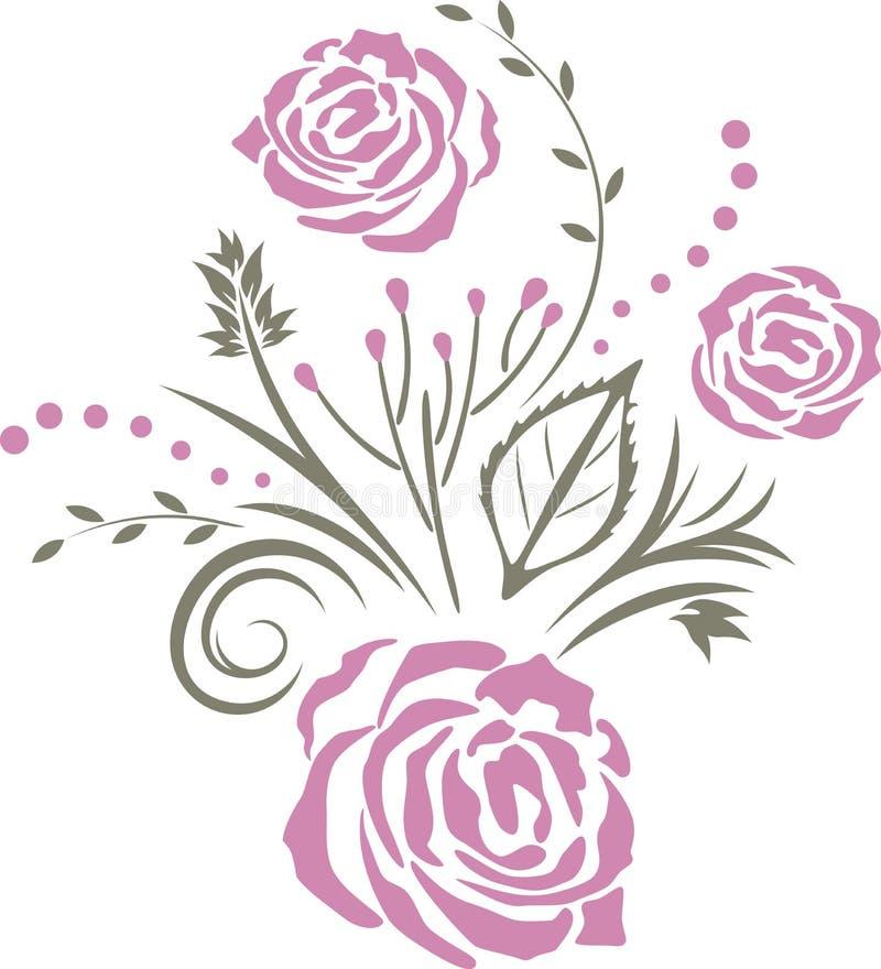 Dekoratives Element mit purpurroten stilisierten Rosen stock abbildung