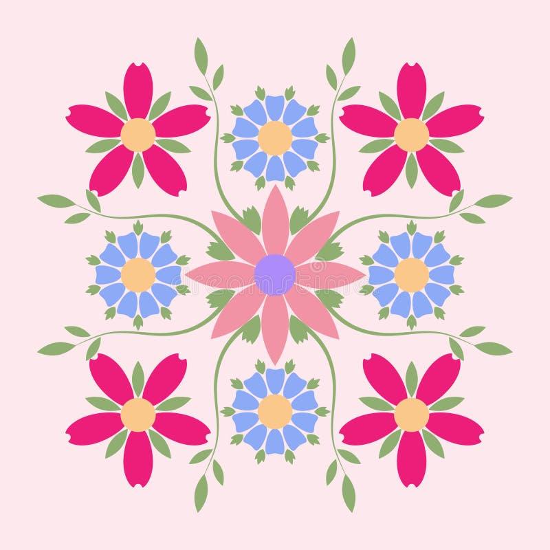 Dekoratives Emblem der symmetrischen Zusammensetzung der mehrfarbigen Blumen Geschäftsidentität für für Boutique, organische Kosm lizenzfreie abbildung