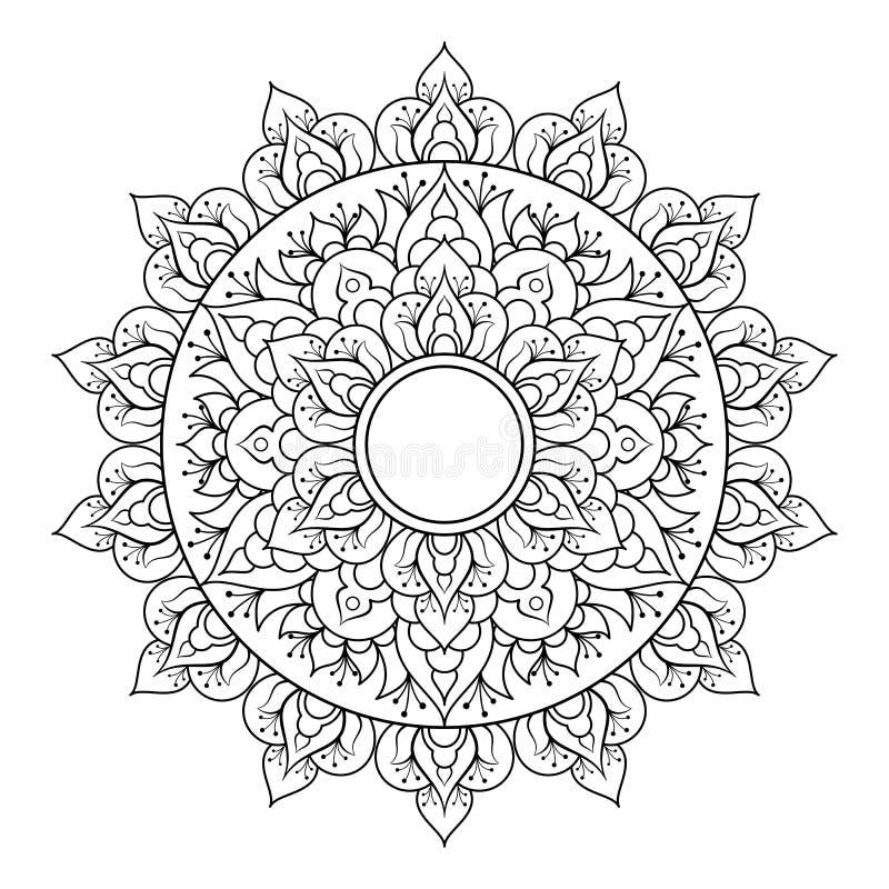 Dekoratives ethnisches Mandalamuster Anti-Druckmalbuchseite f?r Erwachsene Ungew?hnliche Blumenform Orientalischer Vektor vektor abbildung