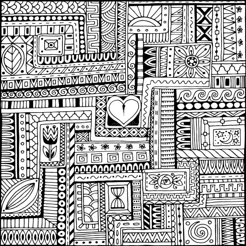 Dekoratives ethnisches Schwarzweiss-Muster mit Herzen Stammes- Hintergrund stock abbildung