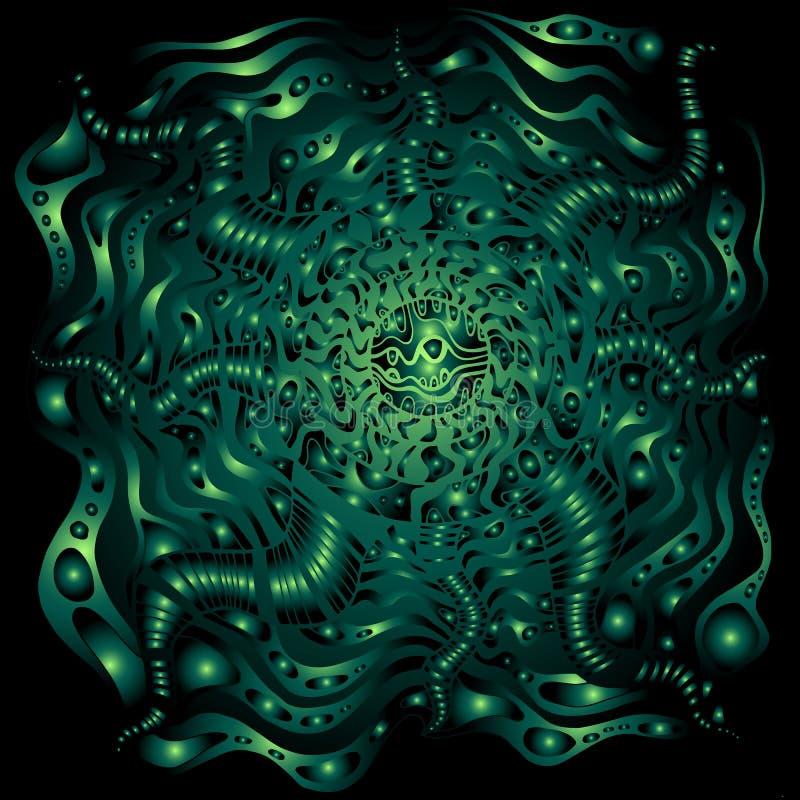 Dekoratives Fantasiemuster der Cyberpunkart, grüne Farben der Steigung auf schwarzem Hintergrund Gezeichnete Grafik des Vektors H vektor abbildung